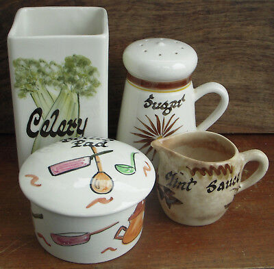 Toni Raymond Pottery Ceramic Celery Jar Sugar Sifter Mint Jug Brillo Pad Holder