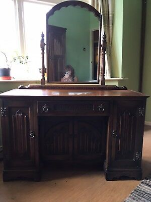 Oak Arts And Crafts Wood Brothers Vintage Jacobean Mirrored Dressing Table/desk