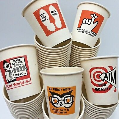 Ford Motor Company Paper Cups Vintage Factory UAW Safety Reminders USA Made