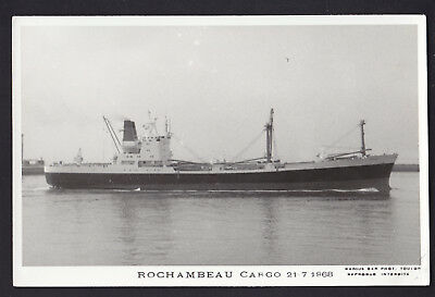 Blank Plain Back Postcard Sized Photo Card Rochambeau Cargo Ship 1968 Boat