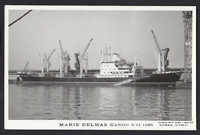 Blank Plain Back Postcard Sized Photo Card Marie Delmas Cargo Ship 1968 Boat