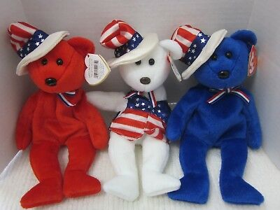Ty Beanie Babies Lot of 3 Sam Red White Blue