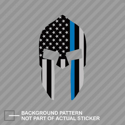 62af9c8ffad5 Thin Blue Line Subdued Spartan Helmet American Flag Sticker Decal Law Police
