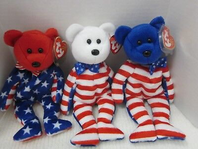 Ty Beanie Babies Lot of 3  Red White Blue Liberty