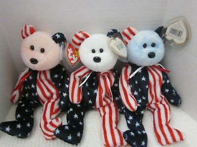 Ty Beanie Babies Lot of 3  Red White Blue Spangle
