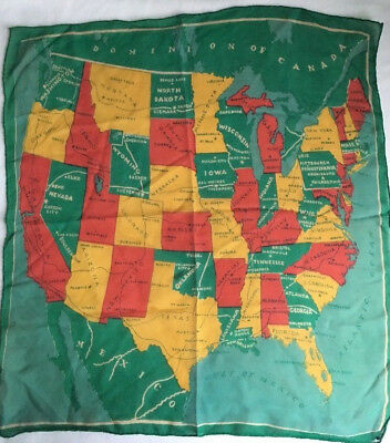 Vintage Scarf USA Map with 48 States and Capitals Cities Green Red Goldenrod