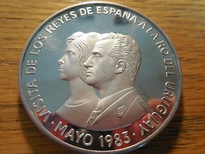 Uruguay 1983 2000 Pesos/ 65 grams/.900/Large Silver piece! King and Queen visit!