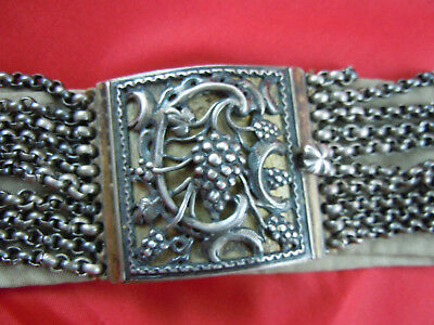 Antique, Silver? Belt Buckle And Chains