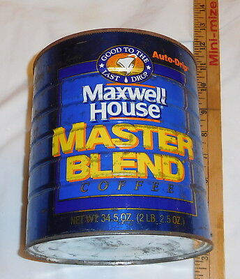 vintage Maxwell House coffee Tin Can EMPTY Master Blend Auto Drip 2 LB 2.5 oz