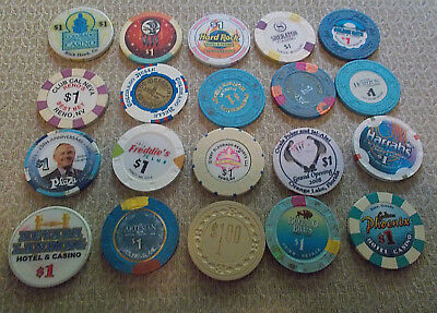 LOT OF 20 DIFF. $1 CASINO CHIPS~ VARIOUS LOCATIONS (#7a) $2.99 shipping