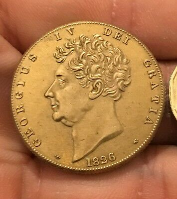 Restrike £2 Double Sovereign George Iv 1826 Gold Plated King Not Full