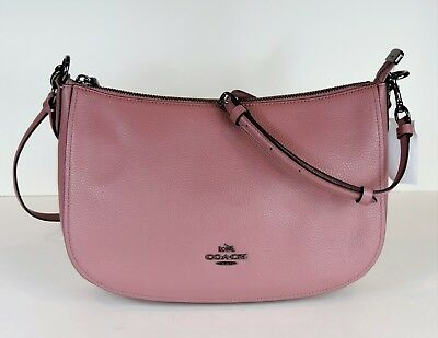 54e18f82a93 NEW COACH Chelsea crossbody Hobo 56819 pebble leather zip top bag DK dusty  rose