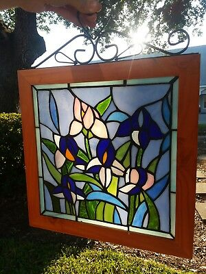 Purple Bearded IRIS FLOWERS Stained Textured Leaded Glass Window Lily Wood Hang