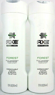 2x AXE White Label Forest 2 in 1 Shampoo + Conditioner Clean & Soft 12 OZ 355 ML