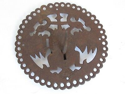 Vintage Spanish Colonial Iron Lock Plate with Key for a Trunk Large and Ornate