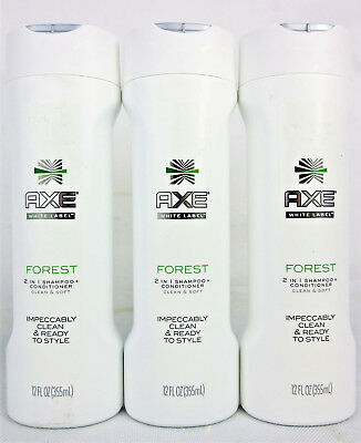 3x AXE White Label Forest 2 in 1 Shampoo + Conditioner Clean & Soft 12 OZ 355 ML