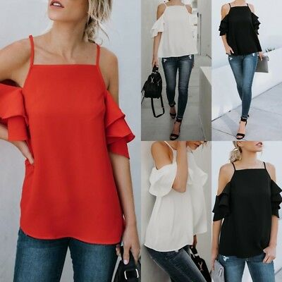 Summer Fashion Women Casual Chiffon Off Shoulder Lady T Shirts Loose Tops Blouse