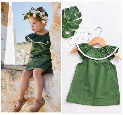 Kids Baby girls summer clothes sleeveless casual dress party holiday Vest dress