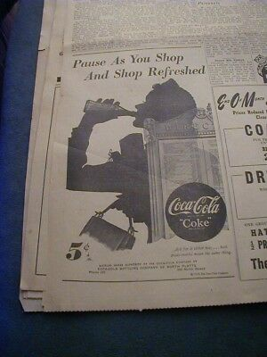 1949 coca cola newspaper ad shows a lady silhouette
