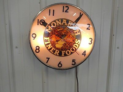 Vintage Monarch Finer Foods Telechron  Advertising Clock