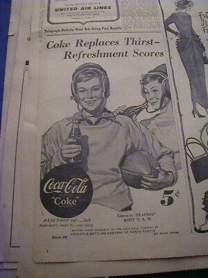 1948 coca cola newspaper ad shows football theme