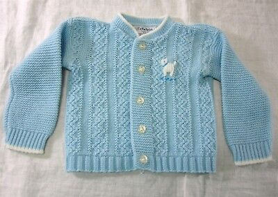 Baby Girl Boy Blue & White Cradleknit Sweater Vintage 1960s Acrylic 6-9 Months