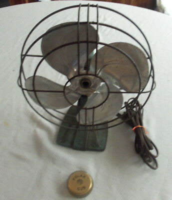 "Polar Cub 9"" Oscillating Fan A.C. Gilbert Co. Works Needs Some Repair. Missing T"