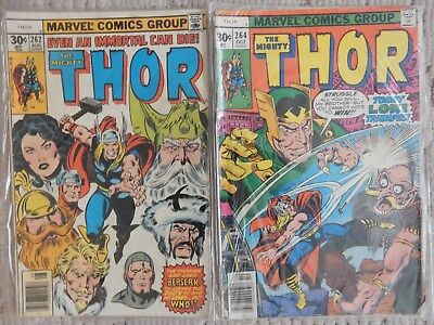 The Mighty Thor 2 Issue Lot #262,264  Vs Loki  Very Good To Fine Cond