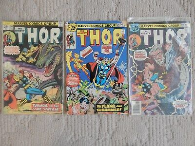 The Mighty Thor 3 Issue Lot #243,247,248  Vs Firelord  Very Good To Fine Cond