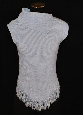 CHIC VTG Blue Fitted Stretch Ribbed Fringe Tank Vest Sweater Pullover Size M/L