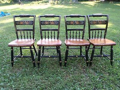 4 Matching Signed Hitchcock Black Harvest Dining Chairs
