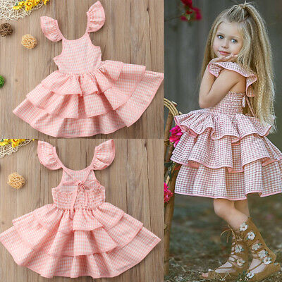 Summer Girl Princess Dress Kid Baby Party Strap Pliad Backless Dresses Clothes