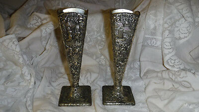 """Matching Pair Dutch Revival Vases Silverplate repousse details 8"""" tall Antique"""
