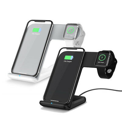 US 2in1 Qi Wireless Charging Dock Stand For iWatch iPhone 8 X 8Plus Apple Watch