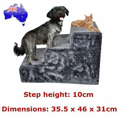 Pet Dog 3 Steps Ladder Doggy Cat Stairs Ramp Washable Soft Plush Cover Portable