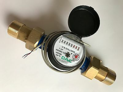 "DAE AS320U-125P 1-1/4"" Water Meter, Pulse Output, Gallon + Couplings"