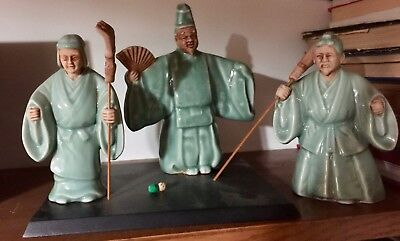 Japanese art ceramics Gardener figures with base and tools