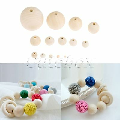 4mm-50mm Round Wood Spacer Bead Natural Unpainted Wooden Ball Beads DIY Crafts