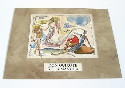 Salvador Dali vintage 72 years old Don Quixote rarely seen pl/signed art matted