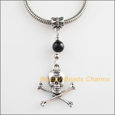 2Pcs Tibetan Silver Tone Skull Charms Glass Bail Beads Fit Bracelets 21x51mm