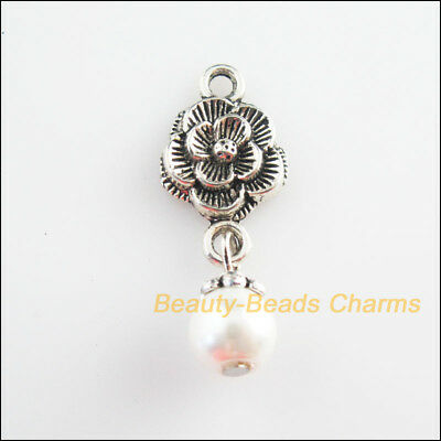 4Pcs Tibetan Silver Tone White Glass Round Beads Flower Charms Pendants 12x34mm