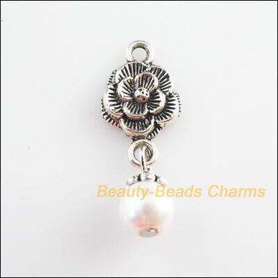 8Pcs Tibetan Silver Tone White Glass Round Beads Flower Charms Pendants 12x34mm