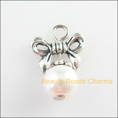 8Pcs Tibetan Silver Tone White Glass Round Beads Knot Charms Pendants 13.5x19mm