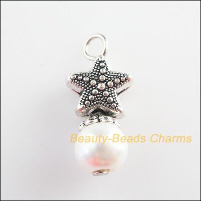 3Pcs Tibetan Silver Tone White Glass Round Beads Starfish Charms Pendant 10x23mm
