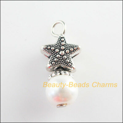 6Pcs Tibetan Silver Tone White Glass Round Beads Starfish Charms Pendant 10x23mm
