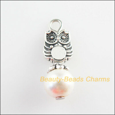 8Pcs Tibetan Silver Tone White Glass Round Beads Animal Owl Charm Pendant 8x23mm