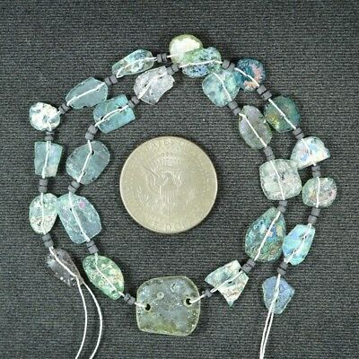 Ancient Roman Glass Beads 1 Medium Strand Aqua And Green 100 -200 Bc 923