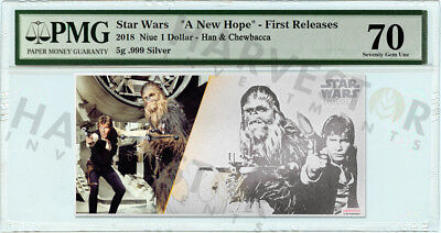 2018 Silver Star Wars Han & Chewbacca - 5 Gram Coin Note - Pmg 70 First Releases