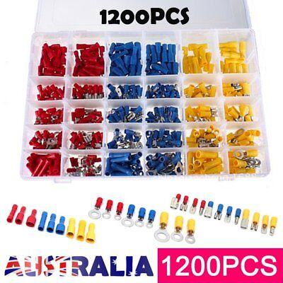1200PCS Assorted Insulated Electrical Wire Terminal Crimp Port Connector Kit QN