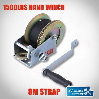Hand Winch 1500lbs/680Kg 2-Gears 8m Synthetic Cable Boat Trailer 4WD Winch NS D1